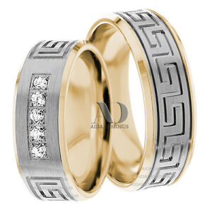 Greek Style Diamond Wedding Ring Set 0 15ctw 7mm Solid 10k Gold Two