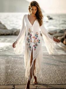 Morbido Bohemian Lungo Vestito Stile Abito 4909 Bianco Elegante Boho Colorato xnwYE