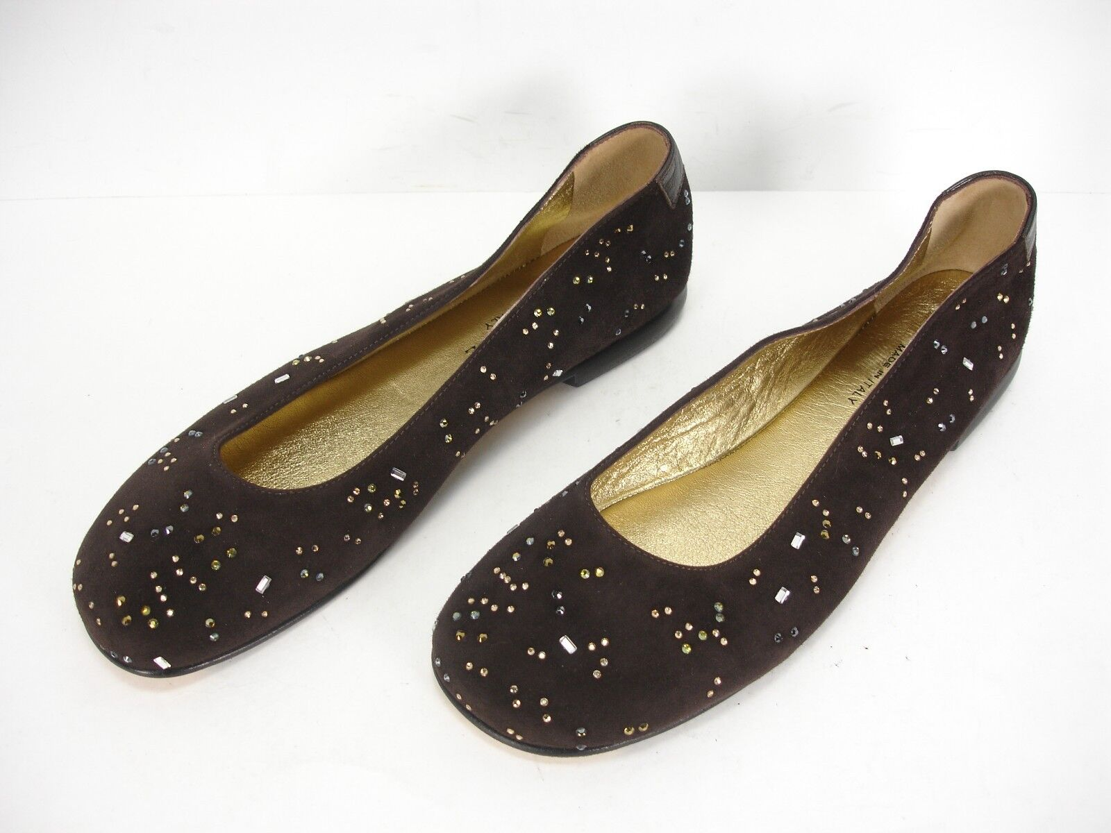 NEW TARYN pink BROWN SUEDE CRYSTALS SLIP ON BALLET FLATS SHOES WOMEN'S 38 M