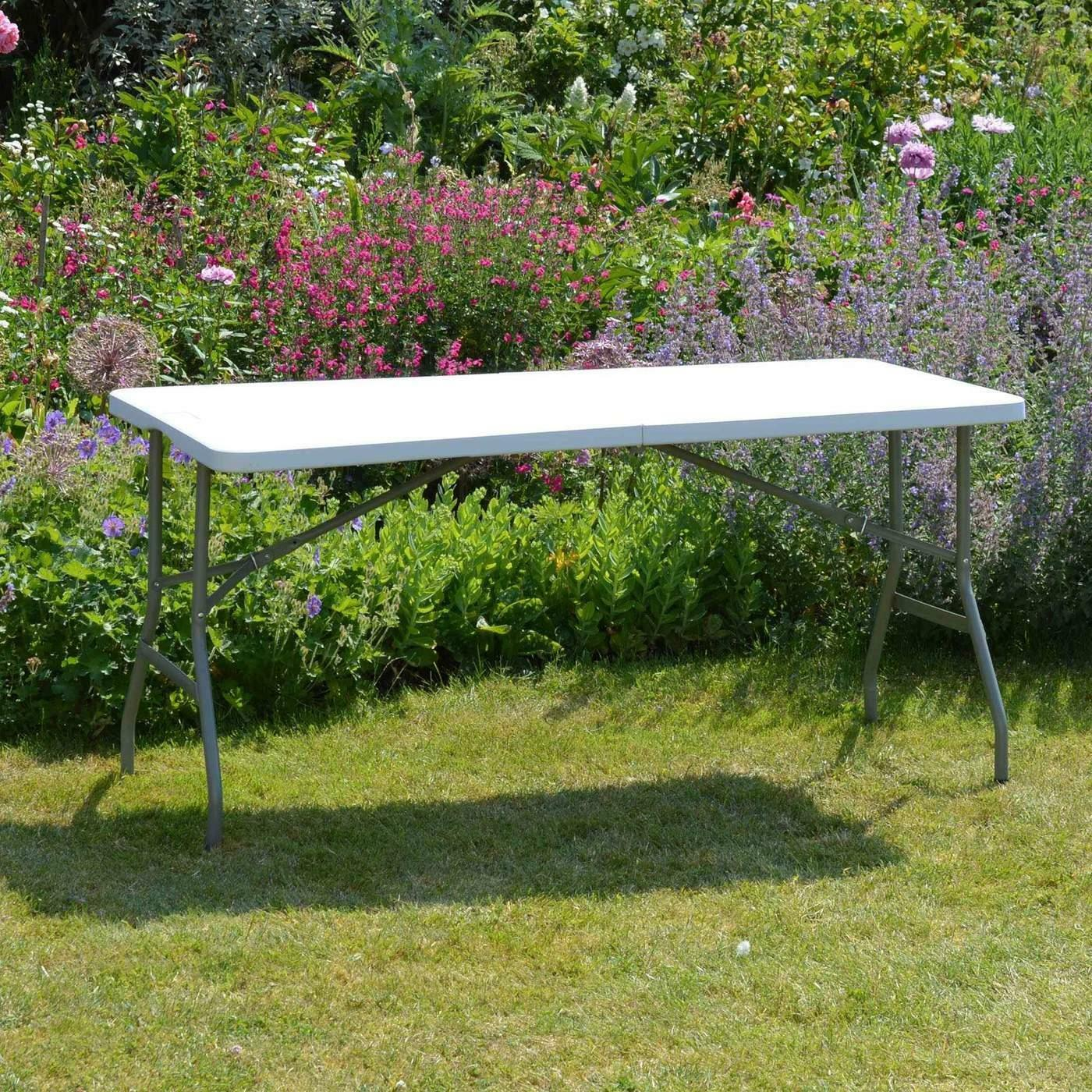 5 Foot Portable Folding Rectangle Trestle Table - White With Carry Handle