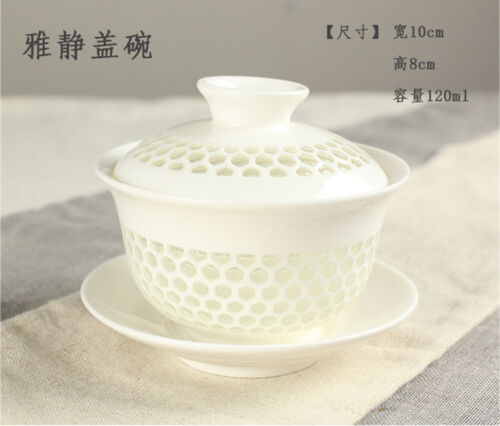 Chinese porcelain//zisha gaiwan covered teacup lid saucer ceramic handpainted cup