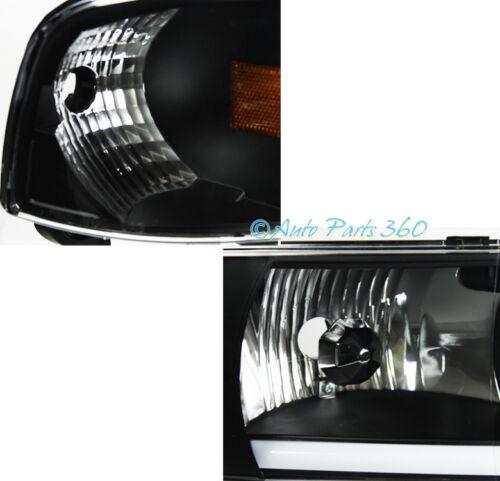 94-01 DODGE RAM LED BAR BLACK CRYSTAL HEADLIGHT LAMP W//DRIVING FOG LIGHT+8K HID