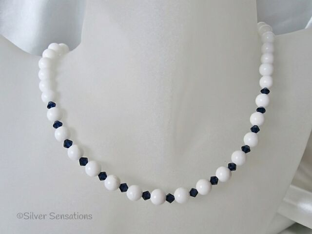 Snow White Agate Sterling Silver Necklace With Dark Blue Swarovski Crystals
