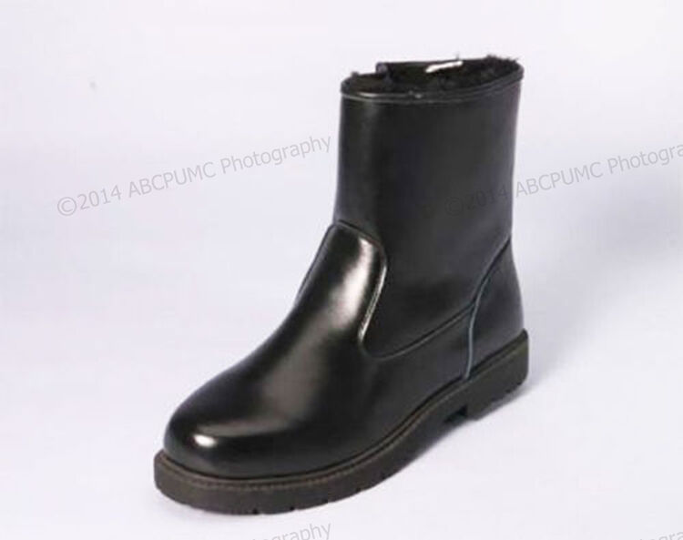 NIB Men's Winter Boots Leather Ankle Warm Fur Lined Side Zipper Shoes Size: 6-13