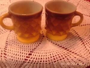 VINTAGE-FIRE-KING-3-KIMBERLY-MUGS-GREEN-YELLOW-BROWN-DIAMOND-COFFEE-MUGS