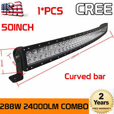 """50""""inch Curved 288W CREE LED Light Bar Combo For Truck Boat Bumper Roof Rack 4WD"""