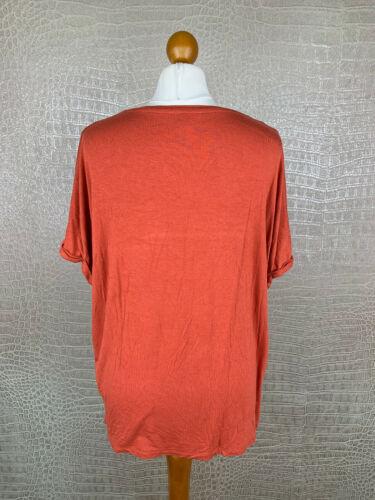 AMISU Damen Gr S oversized Shirt Lagenlook Tshirt Orange Ziegelrot Jersey #306