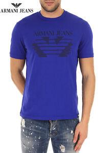 New-Armani-Jeans-Men-Slim-Fit-Gym-Blue-Round-neck-Black-Logo-T-shirt-Top-M-L-XL