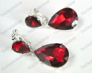 Image Is Loading Clip On 4cm Crystal Drops Earrings Ruby