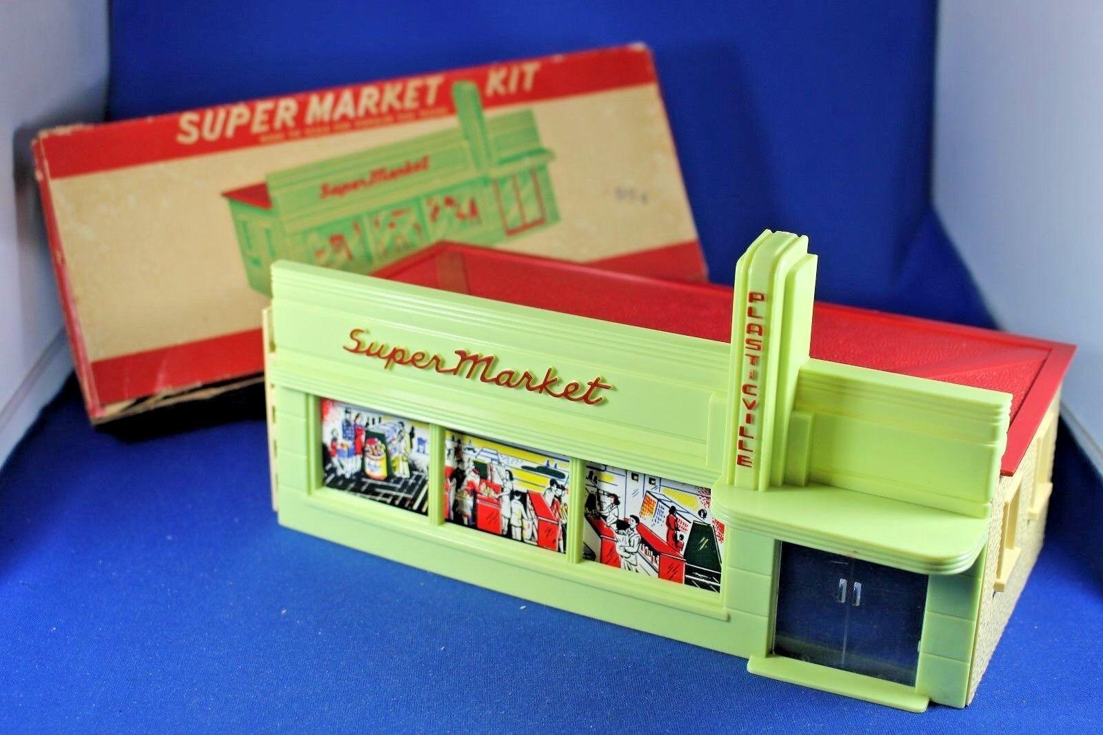 O s-Plasticville -  SM-7 supermercado-difícil de encontrar rosso carta y rosso Techo-Excelente