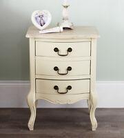 Juliette Shabby Chic Champagne Bedside Table, 3 Drawer Cream Bedside Cabinet