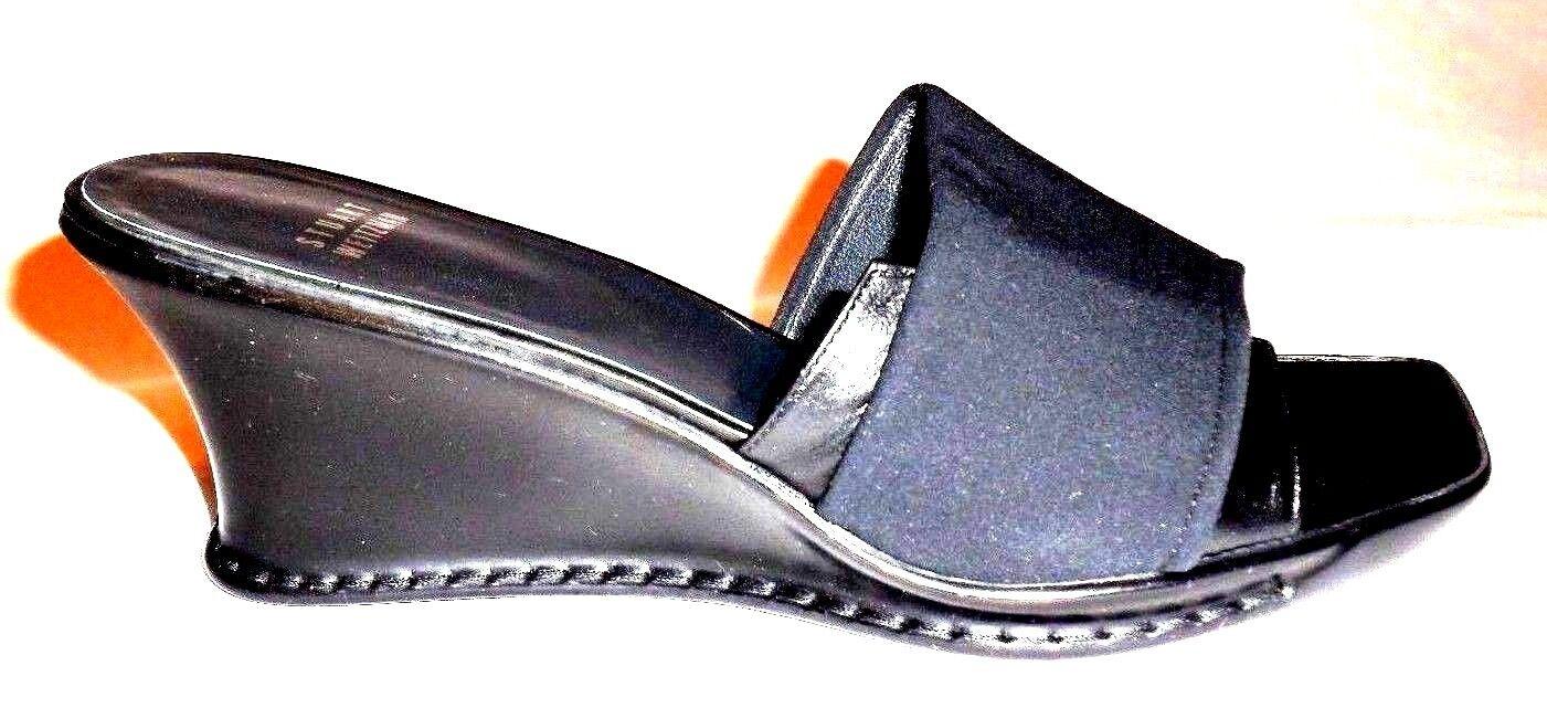 STUART WEITZMAN Black Leather Textile Open Toe WedgeSandalsSpain Sz 10 M Was 248