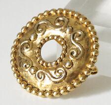 Vintage Jean Louis Scherrer Paris signed Pin Brooch Baroque gold carved donut
