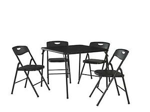 Cosco Products 5 Piece Folding Table And Chair Set Black