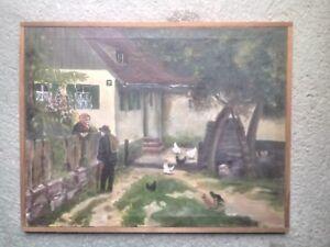 Gemälde kleiner Hof mit Hühnern Öl auf Leinwand um 1940