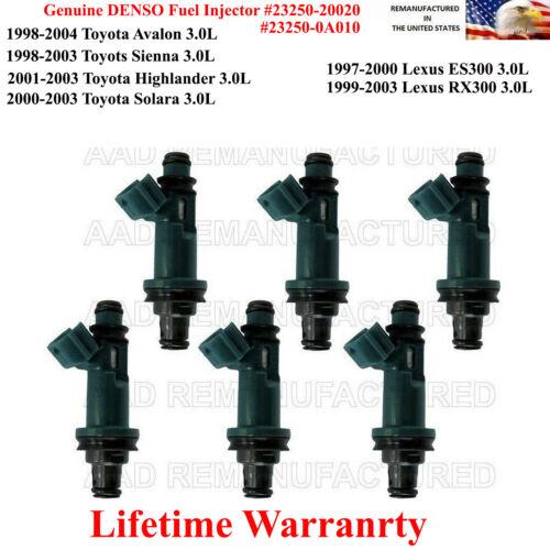 OEM Denso Set Of 6 Fuel Injectors for 2001-2003 Toyota Highlander 3.0L