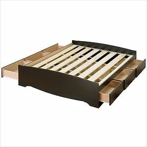 Prepac Sonoma Black Queen Platform Storage Bed With 6 Drawers