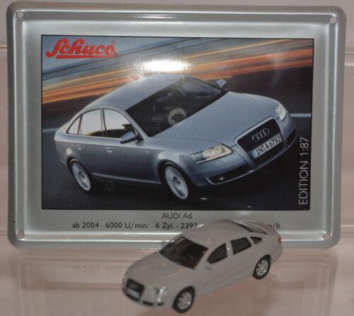 Schuco Modell 1:87 Audi A6 grau mit Schild aus Emaille