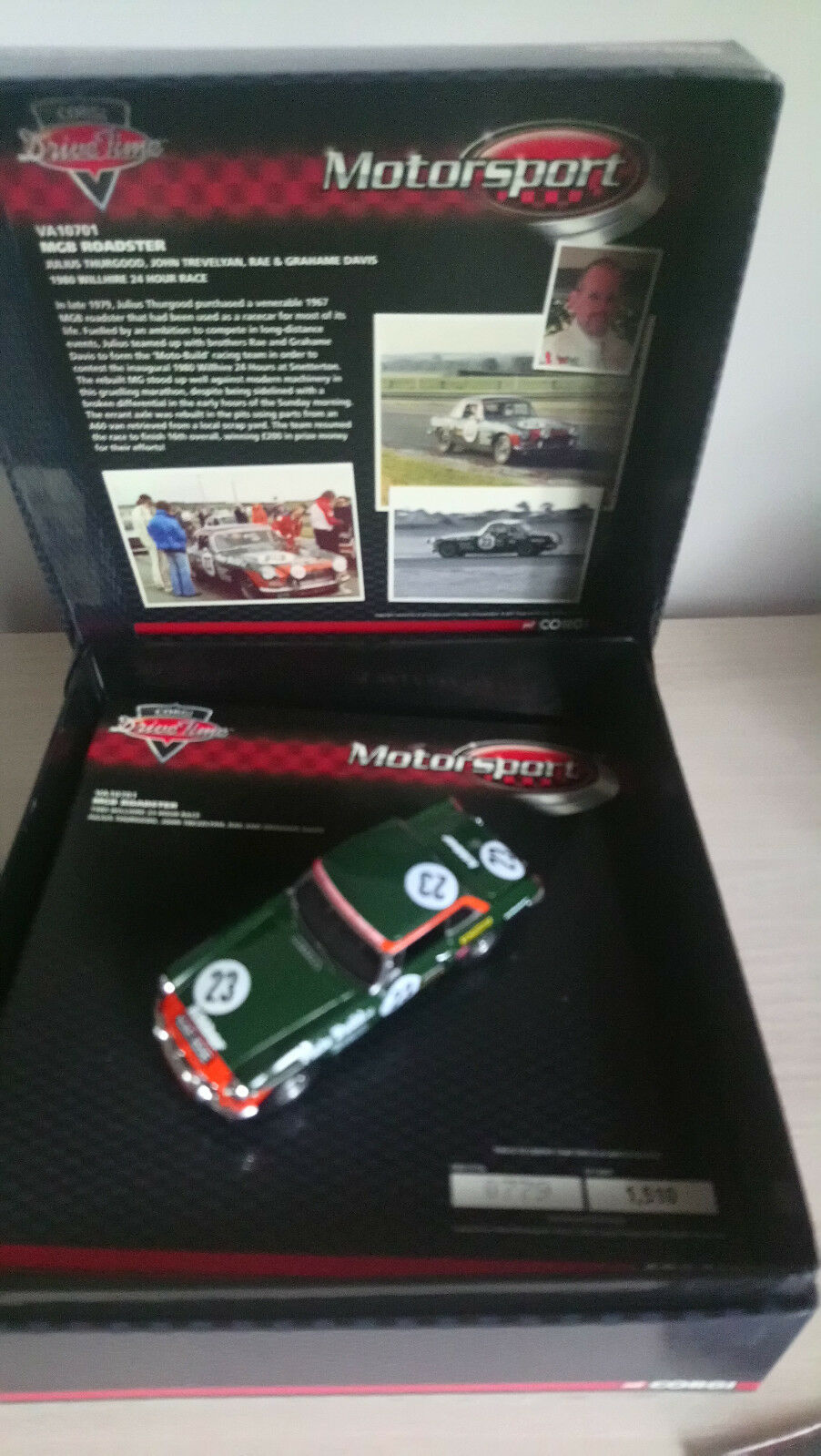 Corgi Motorsport MGB Roadster 1980 Willhire 24 Hr Race VA10701  1 43 Ltd Edition