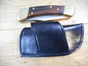 Black leather knife sheath - Holds a Buck 110 - LB7. Cross Draw. Horizontal draw