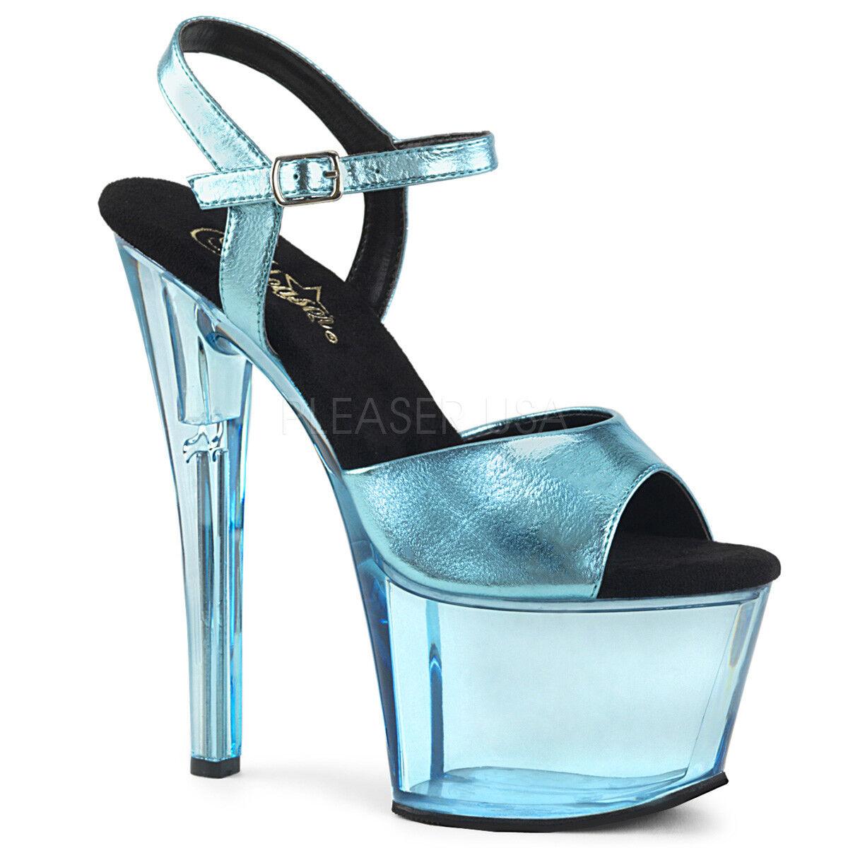 garanzia di credito Pleaser SKY-309MT Donna  Baby blu Metallic Metallic Metallic PU Tinted Heels Ankle Strap Sandals  memorizzare