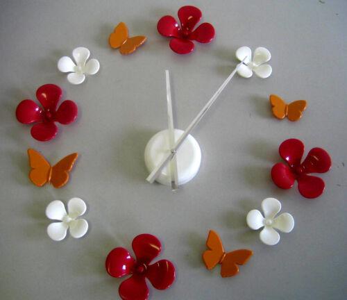 Wunderbare Blumenuhr Wanduhr Blüten im 70er Jahre Stil uhr D ca 50cm Weiß//Or//Rot