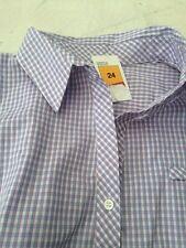 Marks & S Sleeveless  Shirt /  Blouse. Cotton Blend.  24 Bnwt  Blue Check ��