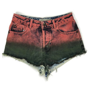 4483ddf1ab2 Details about Topshop Pink Green Faded Acid High Waist 80s Rave Festival  Denim Shorts Size 6