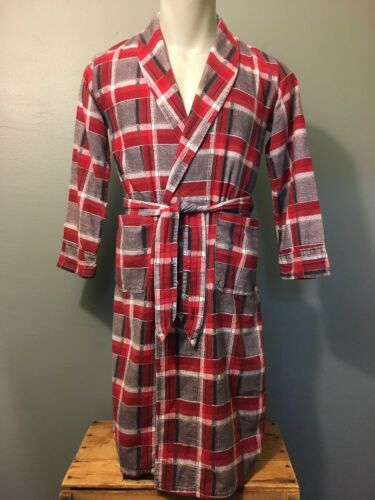 Vtg 50s 60s Kids Shadow Plaid Flannel Bathrobe You