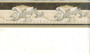 Details about ARCHITECTURAL LEAF SCROLLING- BLACK , GRAY, AND TAN WALLPAPER  BORDER