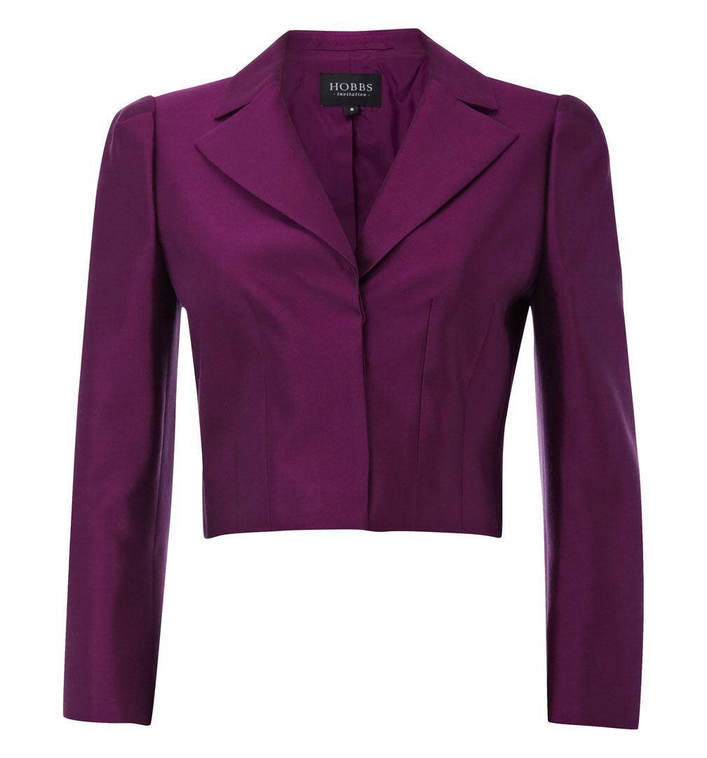 HOBBS seda lana chaqueta de Color púrpura uva  14  tienda de venta