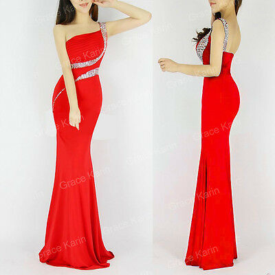 RED Mermaid + BEADED Evening Formal Party Cocktail Bridesmaid Prom Gown Dress GK