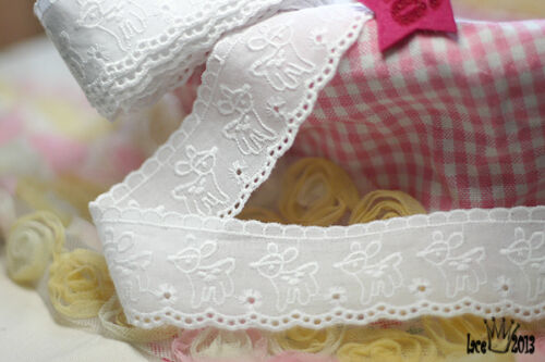 """14Yds Broderie Anglaise eyelet cotton lace trim 1.6/"""" white YH1292 laceking2013"""
