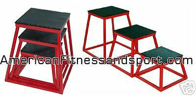 NEW YORK BARBELL FITNESS SET OF 3 PLYOMETRIC BOXES SET OF 12  18  24  NEW