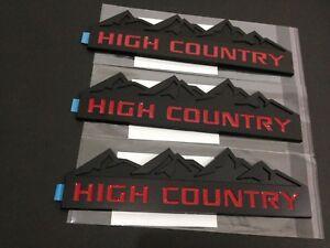 2x OEM HIGH COUNTRY Emblems Badge door tailgate Silverado F Genuine Chrome Red