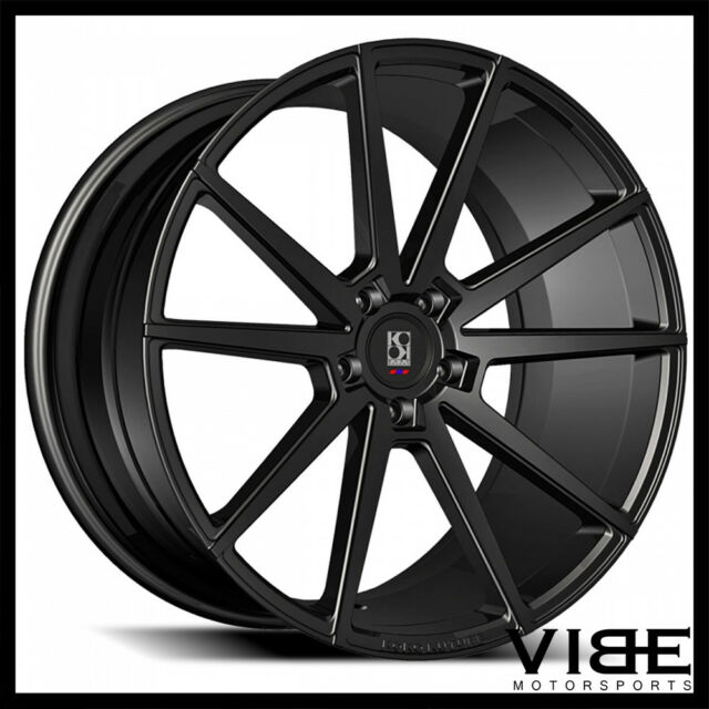 22 Koko Kuture Le Mans Gloss Black Concave Wheels Rims Fits Tesla