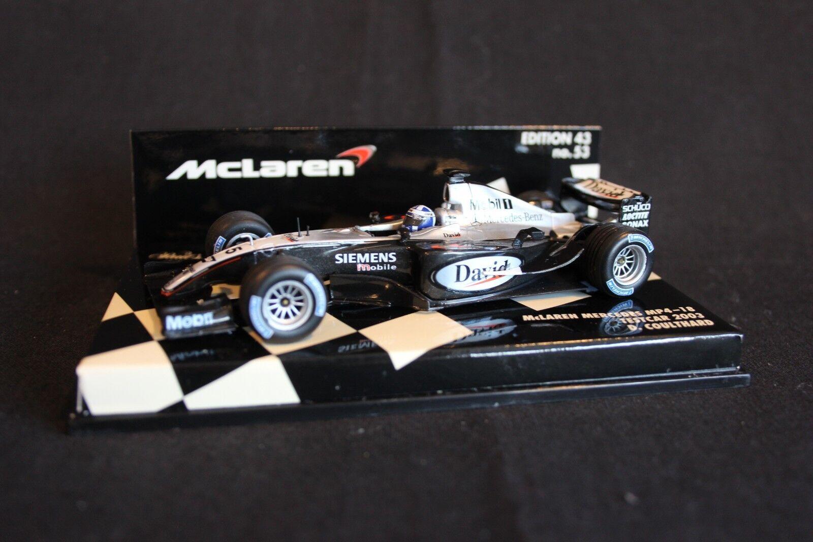 Minichamps McLaren Mercedes MP4 18 2003 1 43 Coulthard (GBR) Testcar