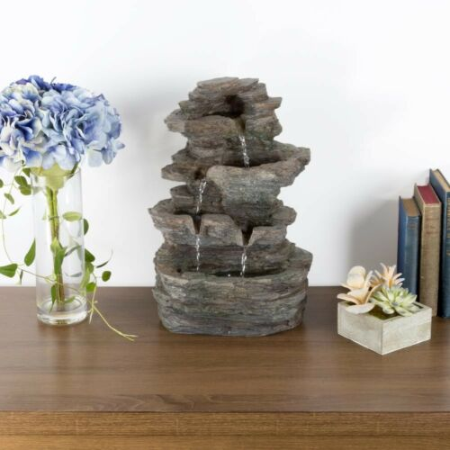 Water Fountain 4-Tier Stone Tabletop LED Lights with Cascading Rock Waterfall
