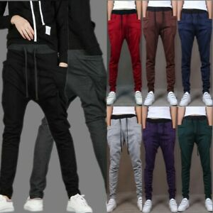 Mens-Stylish-Cotton-Casual-Trousers-Pocket-Sportswear-Sports-Jogging-Haren-Pants