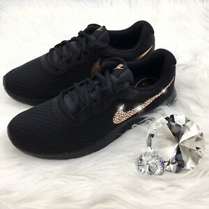 7b6c84cb16772 Details about Bling Nike Tanjun Shoes with Swarovski Crystal Swooshes *  Black with Rose Gold *