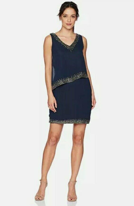 J Kara Sleeveless Bead Trim Popover Dress 270 SIZE 14P. NAVY/MERCURY.