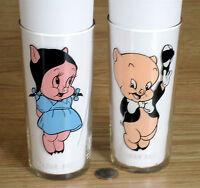 2x PEPSI collector glasses PORKY & PETUNIA PIG 1973 original FEDERAL