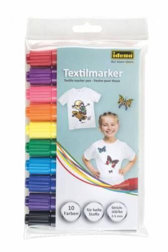 IDENA Textilmarker 10er Set Wäschemarker Stoffmalstifte Textilstift  60035