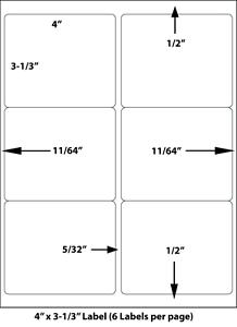 4 x 3 33 6 up uncoated laser inkjet labels 6 per page