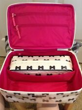 Item 1 New Kate Spade Large Colin Tuxedo Court Cream Black Bows Cosmetic Case 2 Piece