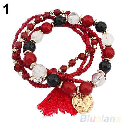 Women's New Bohemian Multilayer Mixed Acrylic Beads Rhinestone Elastic Bracelet