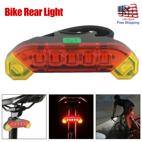 USB Bike Rear Tail Light LED Bicycle Warning Safety Smart Rechargeable Lamp US