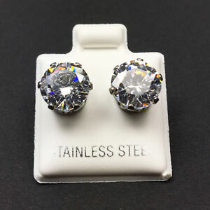Hypoallergenic-316L-Surgical-Stainless-Steel-Round-White-Clear-CZ-Stud-Earrings