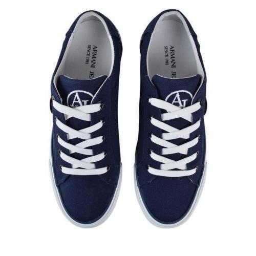 Canvas Jeans Logo ginnastica Rrp Navy Armani Eu nuovissime da Taglia Scarpe 110 40 7 £ Blu xIgRqqU