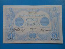 5 francs bleu 9-4-14 F2/22 JOLI TTB